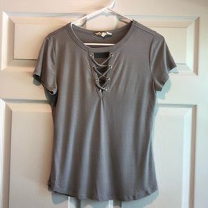 Gray laced neck shirt